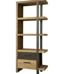 Prachtige industriële boekenkast gemaakt van recyclen teakhout icm metaal.